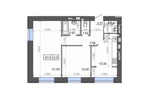 ЖК Новые Метры PARK: планировка 2-комнатной квартиры 61 м²