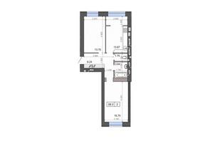 ЖК Новые Метры PARK: планировка 2-комнатной квартиры 58 м²