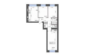 ЖК Новые Метры PARK: планировка 3-комнатной квартиры 69.5 м²