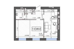 ЖК Новые Метры PARK: планировка 1-комнатной квартиры 49 м²