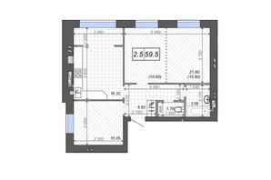 ЖК Новые Метры PARK: планировка 2-комнатной квартиры 59.5 м²