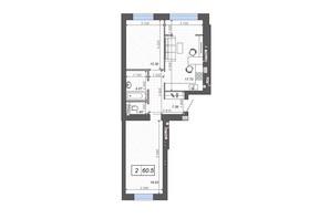 ЖК Новые Метры PARK: планировка 2-комнатной квартиры 60.5 м²