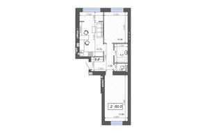 ЖК Новые Метры PARK: планировка 2-комнатной квартиры 60 м²