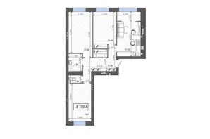 ЖК Новые Метры PARK: планировка 3-комнатной квартиры 79.5 м²