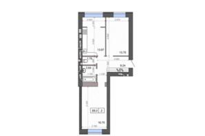 ЖК Новые Метры PARK: планировка 2-комнатной квартиры 58.8 м²