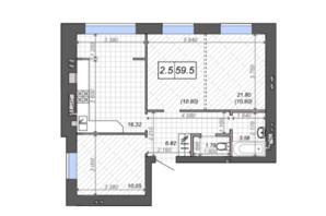 ЖК Новые Метры PARK: планировка 2-комнатной квартиры 59 м²