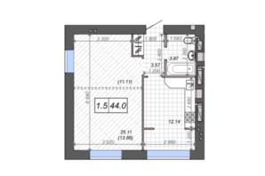 ЖК Новые Метры PARK: планировка 1-комнатной квартиры 43.8 м²