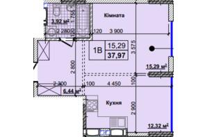 ЖК Новые Теремки: планировка 1-комнатной квартиры 37.97 м²