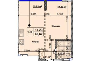 ЖК Новые Теремки: планировка 1-комнатной квартиры 40.67 м²