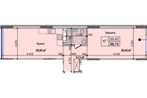 ЖК Новые Теремки: планировка 1-комнатной квартиры 50.73 м²