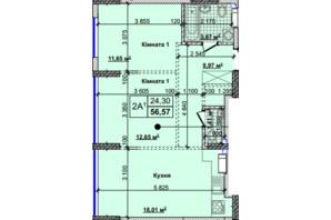 ЖК Новые Теремки: планировка 2-комнатной квартиры 56.57 м²