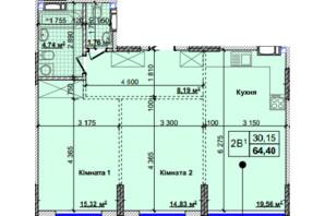 ЖК Новые Теремки: планировка 2-комнатной квартиры 64.4 м²