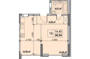 ЖК Новые Теремки: планировка 1-комнатной квартиры 36.54 м²