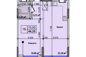 ЖК Новые Теремки: планировка 1-комнатной квартиры 44.25 м²