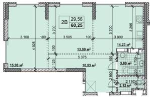 ЖК Новые Теремки: планировка 2-комнатной квартиры 60.25 м²