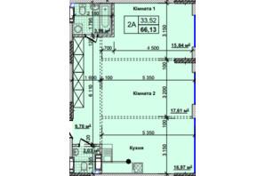 ЖК Новые Теремки: планировка 2-комнатной квартиры 66.13 м²