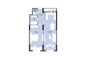 ЖК «Новый Автограф»: планировка 1-комнатной квартиры 57.45 м²