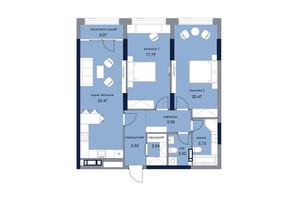ЖК «Новый Автограф»: планировка 2-комнатной квартиры 89.69 м²