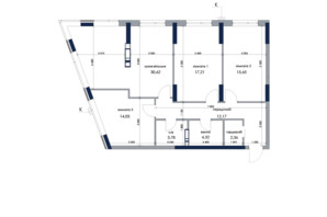 ЖК «Новый Автограф»: планировка 3-комнатной квартиры 101.14 м²