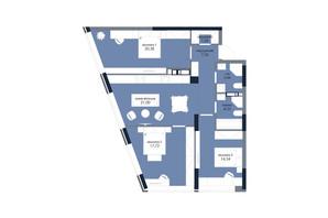 ЖК «Новый Автограф»: планировка 3-комнатной квартиры 90.97 м²