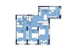 ЖК «Новый Автограф»: планировка 3-комнатной квартиры 95.63 м²
