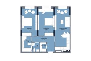 ЖК «Новый Автограф»: планировка 2-комнатной квартиры 75.84 м²