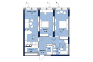 ЖК «Новый Автограф»: планировка 2-комнатной квартиры 89.01 м²