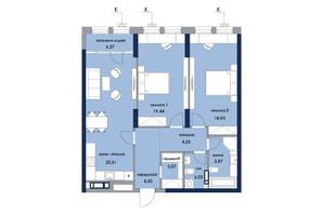 ЖК «Новый Автограф»: планировка 2-комнатной квартиры 89.89 м²