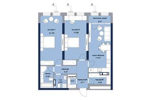 ЖК «Новый Автограф»: планировка 2-комнатной квартиры 88.75 м²