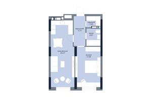 ЖК «Новий Автограф»: планування 1-кімнатної квартири 53.83 м²