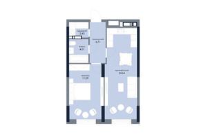 ЖК «Новий Автограф»: планування 1-кімнатної квартири 53.88 м²