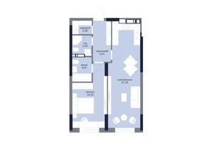 ЖК «Новий Автограф»: планування 1-кімнатної квартири 59.6 м²