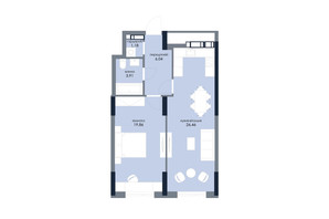 ЖК «Новий Автограф»: планування 1-кімнатної квартири 57.45 м²