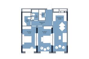 ЖК «Новий Автограф»: планування 2-кімнатної квартири 78.97 м²