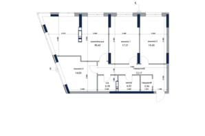 ЖК «Новий Автограф»: планування 3-кімнатної квартири 101.14 м²