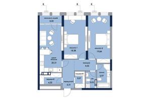 ЖК «Новий Автограф»: планування 2-кімнатної квартири 89.01 м²