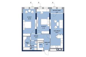 ЖК «Новий Автограф»: планування 2-кімнатної квартири 89.39 м²