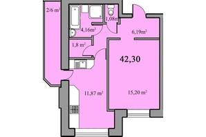 ЖК Новый Парковый: планировка 1-комнатной квартиры 42.3 м²