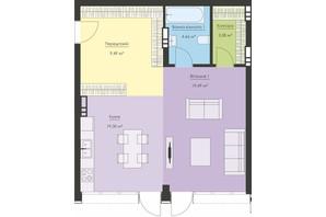 ЖК Новый Подол: планировка 1-комнатной квартиры 56.52 м²