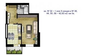 ЖК Новый массив: планировка 1-комнатной квартиры 42.83 м²