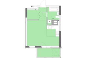 ЖК Нивки-Парк: планировка 1-комнатной квартиры 34.52 м²