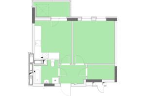 ЖК Нивки-Парк: планировка 1-комнатной квартиры 45.54 м²