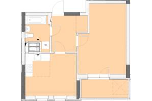 ЖК Нивки-Парк: планировка 1-комнатной квартиры 47.46 м²