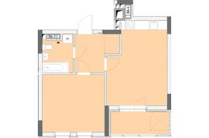 ЖК Нивки-Парк: планировка 1-комнатной квартиры 47.8 м²