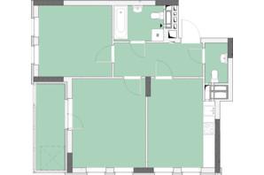 ЖК Нивки-Парк: планировка 2-комнатной квартиры 62.72 м²