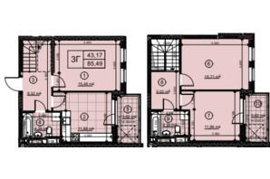 ЖК Нивки-Парк: планировка 3-комнатной квартиры 85.49 м²