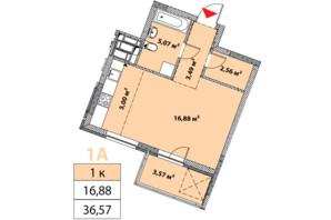 ЖК Нивки-Парк: планировка 1-комнатной квартиры 36.57 м²