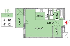 ЖК Нивки-Парк: планировка 1-комнатной квартиры 41.12 м²