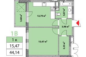 ЖК Нивки-Парк: планировка 1-комнатной квартиры 44.14 м²
