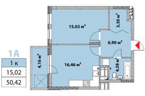 ЖК Нивки-Парк: планировка 1-комнатной квартиры 50.42 м²
